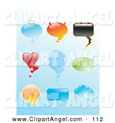 Illustration Vector of a Digital Set of Shiny Shaped Speech Balloons on Blue by Anja Kaiser
