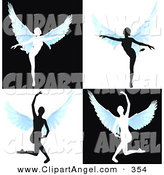 Illustration Vector of a Digital Set of Silhouetted Angels Dancing on White by MacX