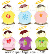Illustration Vector of a Digital Set of Six Holiday Angel Kids with Halos by Cherie Reve