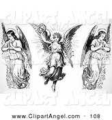Illustration Vector of a Digital Set of Three Black and White Angel Saints on White by BestVector