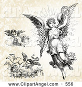 Illustration Vector of a Digital Set of Three Victorian Angels by BestVector