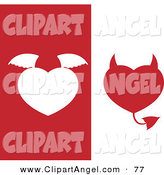 Illustration Vector of a Digital Set of Two Angel and Devil Hearts on White and Red Backgrounds by Cidepix