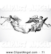 Illustration Vector of a Digital Set of Two Black and White Angels Playing Horns by BestVector