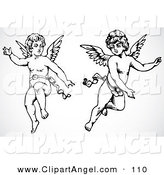Illustration Vector of a Digital Set of Two Black and White Cupid Angels on White by BestVector