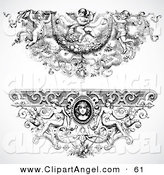 Illustration Vector of a Digital Set of Two Elegant Angel Baroque Headers by BestVector