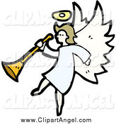 Illustration Vector of a Dirty Blond White Female Angel Holding a Horn by Lineartestpilot