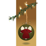Illustration Vector of a Folk Styled Angel Christmas Bauble Suspended from a Branch over Brown by Inkgraphics