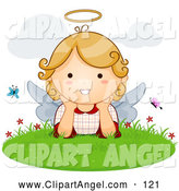 Illustration Vector of a Friendly Cute Blond Angel with Butterflies in the Grass by BNP Design Studio