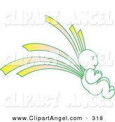 Illustration Vector of a Green and Yellow Asian Angel Facing to the Right by Cherie Reve