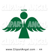 Illustration Vector of a Green Angel Silhouette with a Halo on White by Pams Clipart