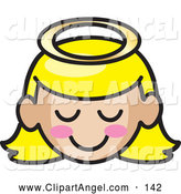 Illustration Vector of a Grinning Blond Angel Girl Face with Pink Cheeks by Rosie Piter