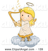 Illustration Vector of a Grinning Cute Angel Girl Playing a Harp on a Cloud by BNP Design Studio