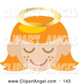 Illustration Vector of a Grinning Red Haired Angel Girl with a Halo and Freckled Cheeks by Rosie Piter