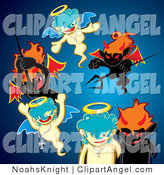 Illustration Vector of a Group of Black Evil Devils Fighting Innocent Angels with Pitchforks, over Blue by NoahsKnight