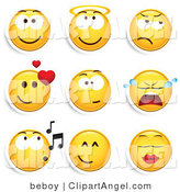 Illustration Vector of a Group of Nine Smiling, Angelic, Grumpy, Infatuated, Crying, Whistling and Kissing Yellow Emoticon Faces by Beboy
