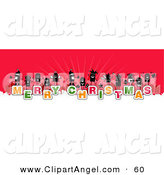Illustration Vector of a Group of Stick People on the Words Merry Christmas over White and Red by NL Shop