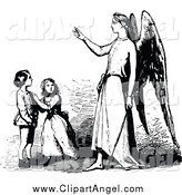 Illustration Vector of a Guardian Angel and Children by Prawny Vintage