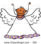 Illustration Vector of a Happy and Outgoing Peaceful Angel Bot by Prawny