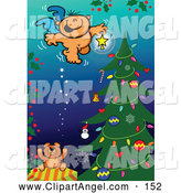 Illustration Vector of a Happy Angel over a Christmas Tree by Zooco