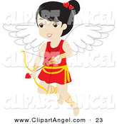 Illustration Vector of a Happy Black Haired Female Cupid with a Heart Arrow by Rosie Piter