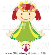 Illustration Vector of a Happy Crowned Angel Ballerina Girl in Green by Cherie Reve
