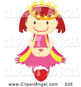Illustration Vector of a Happy Crowned Angel Floating on a Heart on White by Cherie Reve