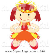 Illustration Vector of a Happy Crowned Angel Holding a Heart in Front of Her by Cherie Reve