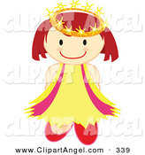 Illustration Vector of a Happy Crowned Caucasian Angel Holding Her Arms Behind Her Back by Cherie Reve