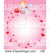 Illustration Vector of a Happy Cupid in a Circle of Hearts on Pink by Pushkin