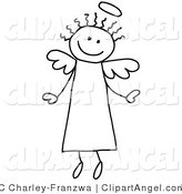Illustration Vector of a Happy Flying Stick Angel Person with Hair and a Halo by C Charley-Franzwa