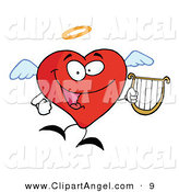 Illustration Vector of a Happy Red Heart Angel Character Flying with a Lyre by Hit Toon