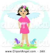 Illustration Vector of a Happy Smiling Angel Girl Standing in Grass with Two Birds in Heaven by