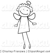 Illustration Vector of a Happy Smiling Flying Stick Figure Angel with a Halo over Head by C Charley-Franzwa
