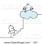 Illustration Vector of a Happy Stick Person Man Climbing the Steps to Heaven by NL Shop