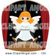 Illustration Vector of a Happy White Girl Flying As an Angel in a Play by BNP Design Studio