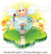 Illustration Vector of a Heart Shaped Angelic House with a Mushroom Chimney and Flowers on the Sides by NoahsKnight