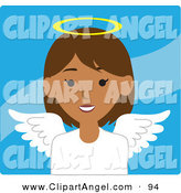 Illustration Vector of a Hispanic Female Avatar Angel over Wavy Blue by Rosie Piter