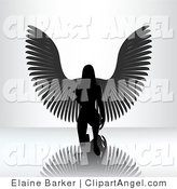 Illustration Vector of a Kneeling Female Angel on a Reflective Surface, Silhouetted in Black by a Bright Light by Elaineitalia