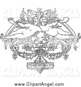 Illustration Vector of a Lineart Cherubs in Vintage Design by Prawny Vintage