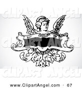 Illustration Vector of a Little Angel Behind a Blank Banner on Gray by BestVector