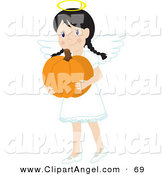 Illustration Vector of a Little Brunette Girl in an Angel Costume, Smiling and Carrying a Pumpkin by Rosie Piter