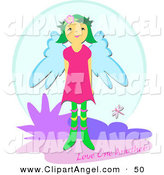 Illustration Vector of a Love One Another Greeting with a Sweet Angel Girl in Heaven by