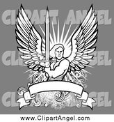 Illustration Vector of a Male Angel Wielding a Sword over a Blank Banner on Gray by BestVector