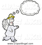 Illustration Vector of a Male Angel with a Conversation Bubble by Lineartestpilot