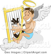 Illustration Vector of a Male Angel with a Halo and White Wings, Sitting on a Cloud and Playing a Harp by AtStockIllustration