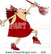 Illustration Vector of a Middle Aged Chubby Male Cupid in Red, Using a Feather Duster by Djart