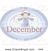 Illustration Vector of a Month of December Angel on a Blue Oval over White by Prawny