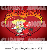 Illustration Vector of a Naughty Devil with His Angelic Girlfriend, in Front of a Flaming Heart by Jtoons