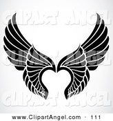 Illustration Vector of a Pair of Black and White Elegant Angel Wings on White by BestVector