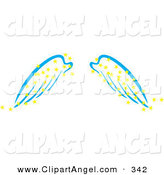 Illustration Vector of a Pair of Blue Angel Wings with Yellow Magic Stars on White by Cherie Reve